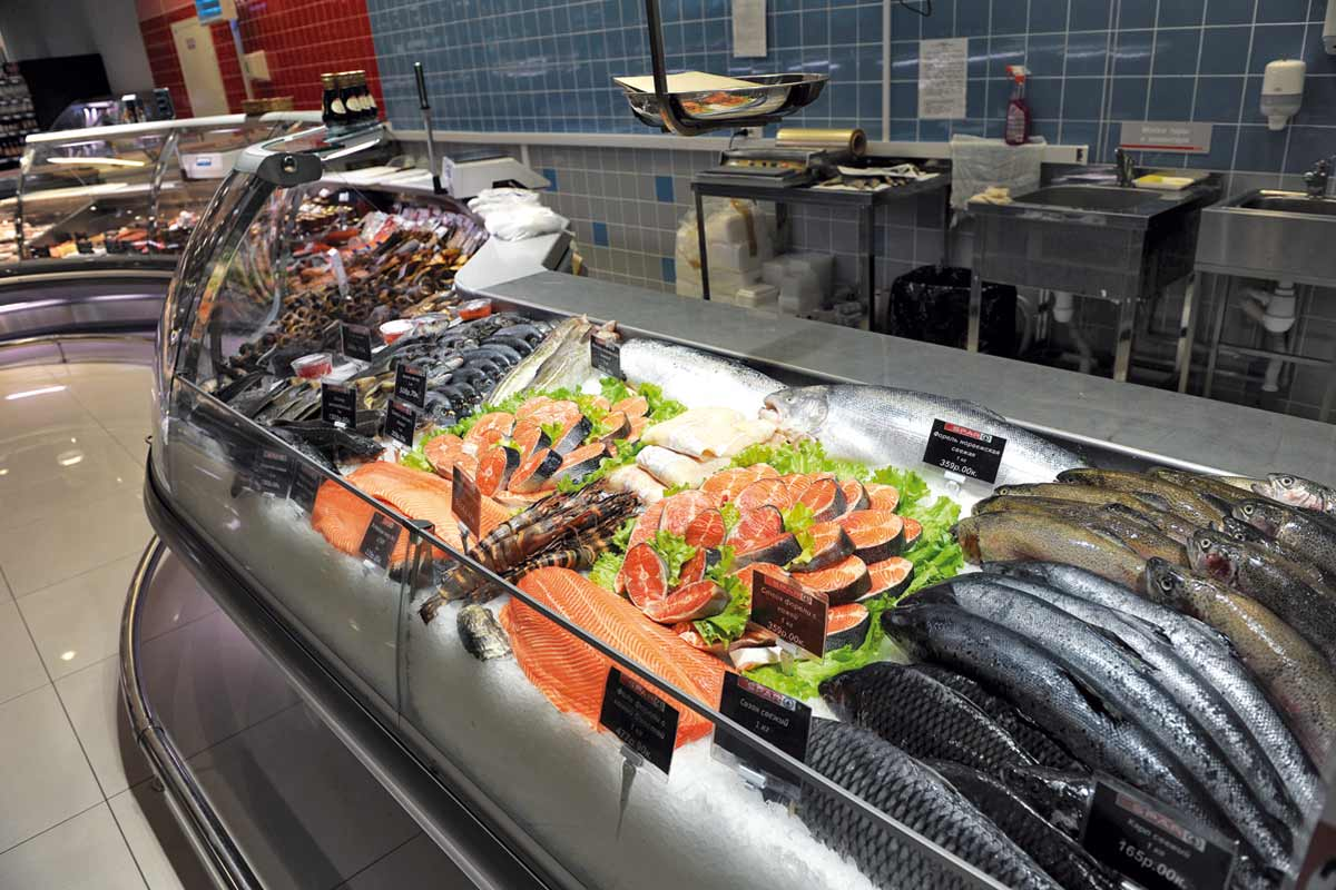Рыбные витрины в магазинах фото